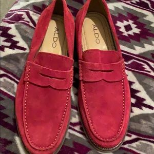 NWOT ALDO Mens Red Suede Loafers